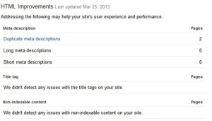HTML Improvements Webmaster Tools